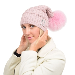 Pink Wool Beanie Hat with Pink Fox Fur Pom Pom PARIS
