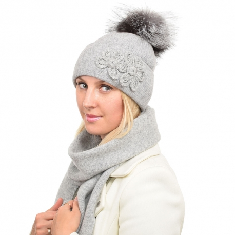 Ashen Wool Hat with Silver Fox Fur Pom Pom LOTOS