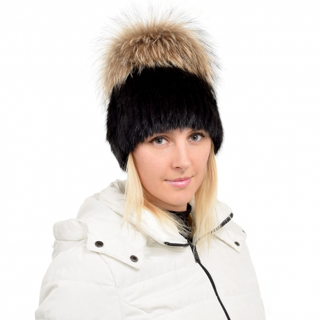 Black Mink Fur Hat with Raccoon Fur Pom Pom