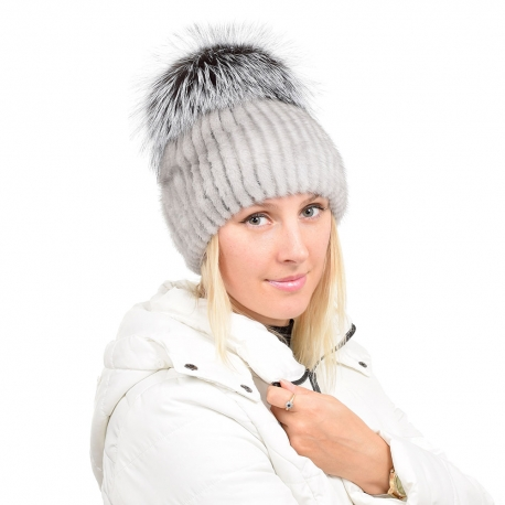Grey Mink Fur Hat with Silver Fox Fur Pom Pom