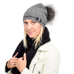 Wool Hat Beanie with Silver Fox Fur Pom Pom VINCA