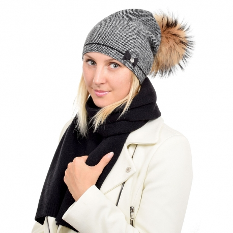 Wool Hat & Scarf Set with Raccoon Fur Pom Pom VINCA