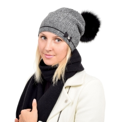 Wool Hat & Scarf Set with Black Fox Fur Pom Pom VINCA