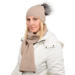 Dark Beige Wool Hat with Silver Fox Fur Pom Pom TILIA
