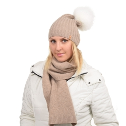 Dark Beige Wool Hat with White Fox Fur Pom Pom TILIA