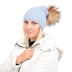 Light Blue Wool Hat with Raccoon Fur Pom Pom TILIA