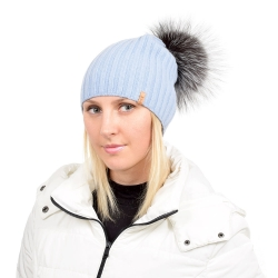 Light Blue Wool Hat with Silver Fox Fur Pom Pom TILIA