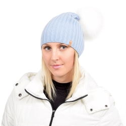 Light Blue Wool Hat with White Fox Fur Pom Pom TILIA