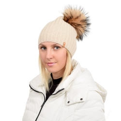 Beige Wool Hat with Raccoon Fur Pom Pom TILIA