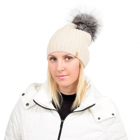 Beige Wool Hat with Silver Fox Fur Pom Pom TILIA