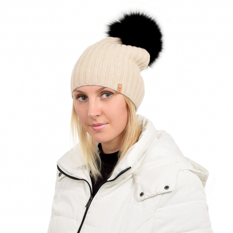 Beige Wool Hat with Black Fox Fur Pom Pom TILIA
