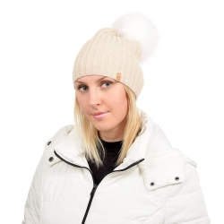 Beige Wool Hat with White Fox Fur Pom Pom TILIA