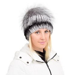 Chinchilla Rex Rabbit Fur Hat with Silver Fox Fur Pom Pom