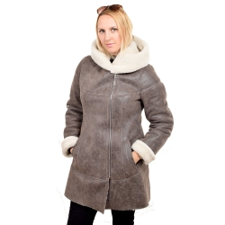 Shearling sheepskin coat with hood (KNS011)