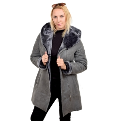 Grey shearling sheepskin coat with hood (KNS012)