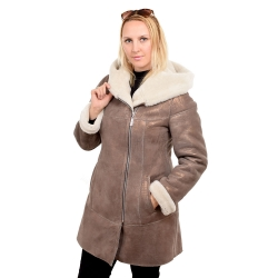 Gold shearling sheepskin coat with hood (KNS013)
