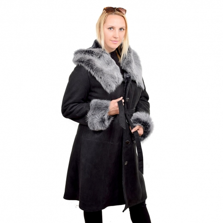Black shearling sheepskin coat with hood (KNS014)