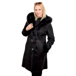 Black shearling sheepskin coat with black fox fur