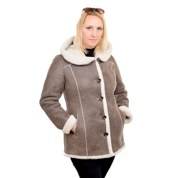 Shearling sheepskin hooded jacket (KNS016)