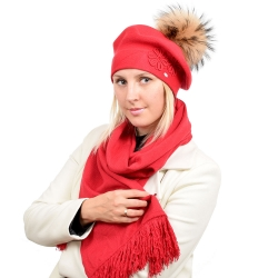 Women's Red Wool Beret with Raccoon Fur Pom Pom ABELIA