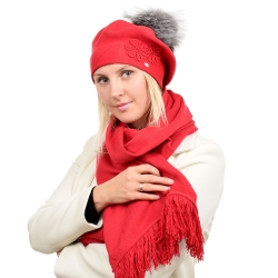 Red Wool Beret with Silver Fox Fur Pom Pom ABELIA