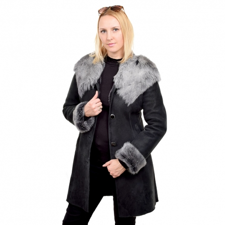 Shearling sheepskin coat with toscana hood