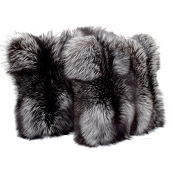 Silver Fox Fur Pillow / Silver Fox Fur Cushion 50x50cm