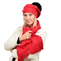 Red Scarf & Beret with Black Fox Fur Pom Pom ABELIA