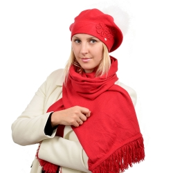 Red Scarf & Beret with White Fox Fur Pom Pom ABELIA