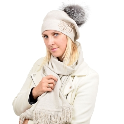 Beige Wool Beret with Silver Fox Fur Pom Pom ABELIA