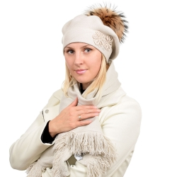 Beige Scarf & Beret with Raccoon Fur Pom Pom ABELIA