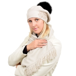 Beige Scarf & Beret with Black Fox Fur Pom Pom ABELIA