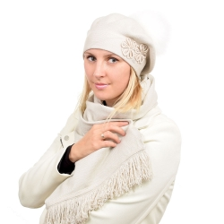 Beige Scarf & Beret with White Fox Fur Pom Pom ABELIA