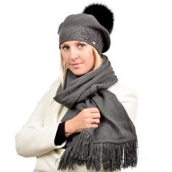 Grey Wool Beret with Black Fox Fur Pom Pom ABELIA