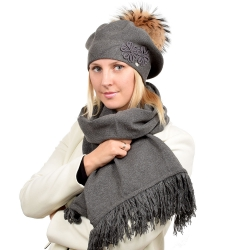 Grey Scarf & Beret with Raccoon Fur Pom Pom ABELIA