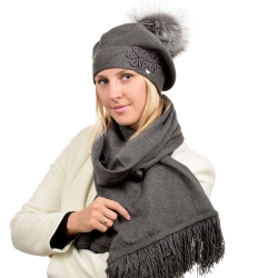 Grey Scarf & Beret with Silver Fox Fur Pom Pom ABELIA