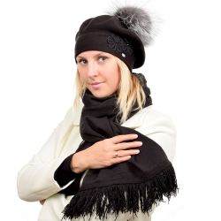Grey Wool Beret with Silver Fox Fur Pom Pom ABELIA