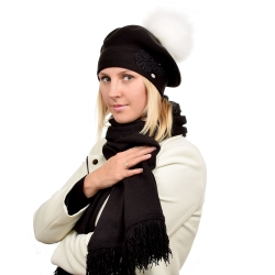Black Wool Beret with White Fox Fur Pom Pom ABELIA