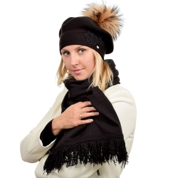 Black Scarf & Beret with Raccoon Fur Pom Pom ABELIA