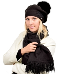 Black Scarf & Beret with Black Fox Fur Pom Pom ABELIA