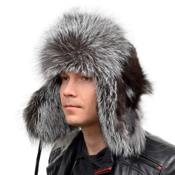 Genuine Men's Silver Fox Fur Hat IV Fur Ushanka Hat