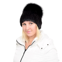 Black Mink Fur Hat with Black Fox Fur Pom Pom
