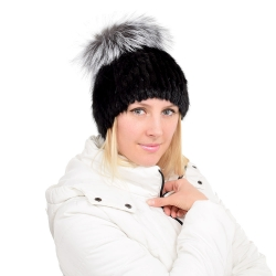 Black Mink Fur Hat with Silver Fox Fur Pom Pom