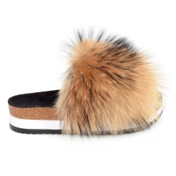 Platform / High Sole Slides with Raccoon Fur