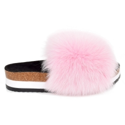 Platform / High Sole Slides with Pink Fox Fur
