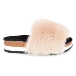 Platform / High Sole Slides with Beige Fox Fur
