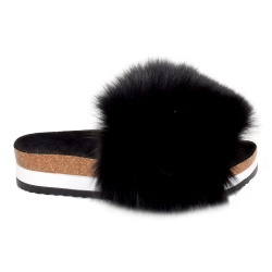 Platform / High Sole Slides with Black Fox Fur