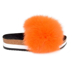 Platform / High Sole Slides with Orange Fox Fur