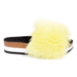 Platform / High Sole Slides with Yellow Fox Fur