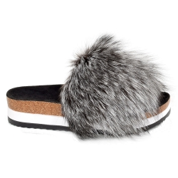 Platform / High Sole Slides with Silver Fox Fur